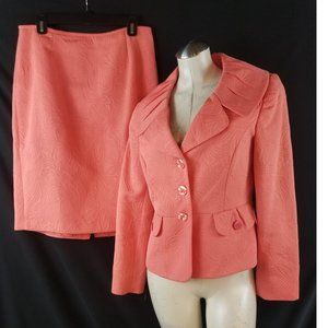 Isabella Suits Size 10 Coral Skirt Suit